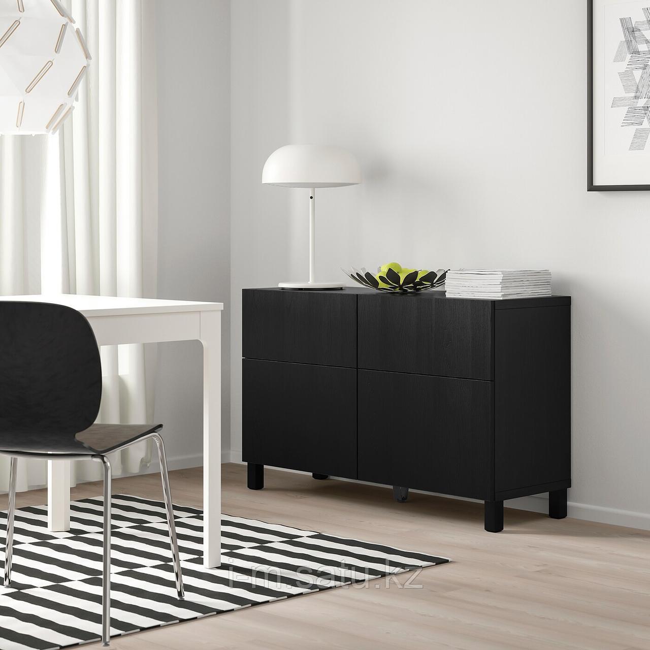 БЕСТО Комб для хран с дверц/ящ, черно-коричневый, тиммер/стуббар черный, 120x42x74 см