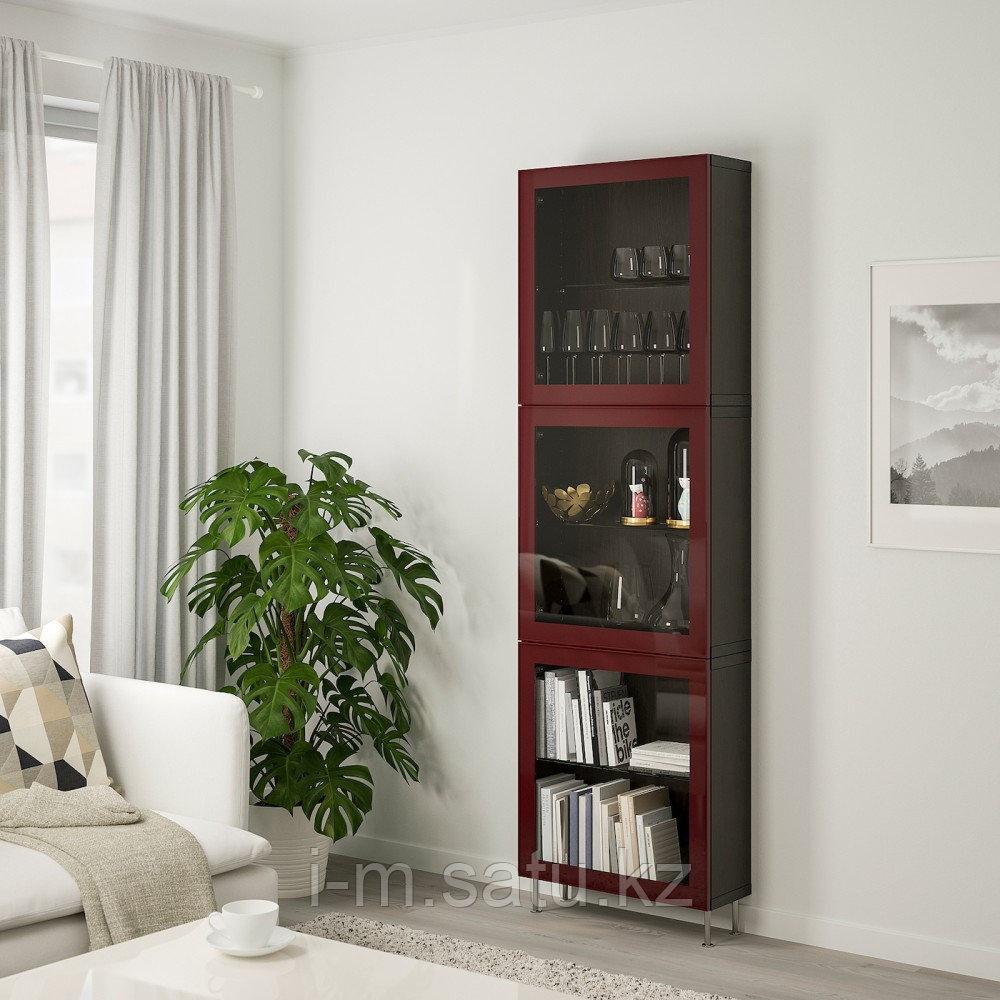 БЕСТО Комбинация д/хранения+стекл дверц, черно-коричневый глассвик/сталларп, 60x22x202 см