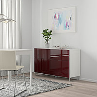 БЕСТО Комб для хран с дверц/ящ, белый СЕЛЬВИКЕН/СУЛАРП, глянцевый темный красно-коричневый, 120x42x74 см, фото 1