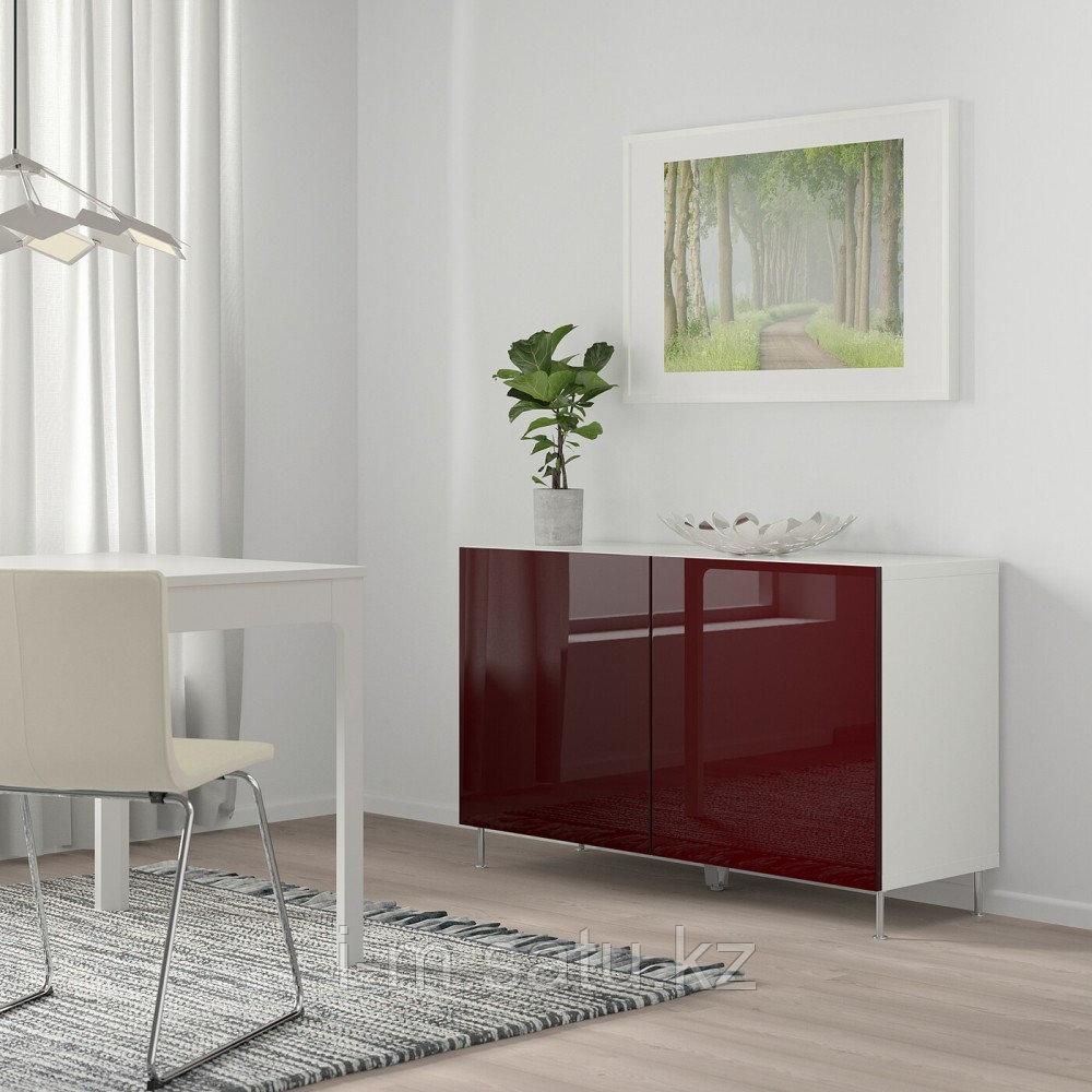 БЕСТО Комбинация для хранения с дверцами, белый СЕЛЬСВ/СТАЛЛАРП, глянцевый , 120x42x74 см