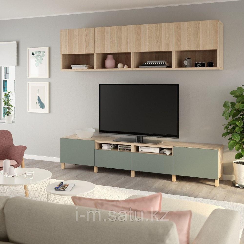 БЕСТО Шкаф для ТВ, комбинация, под беленый дуб Лаппвикен, нотвикен/стуббарп серо-зеленый, 240x42x230 см