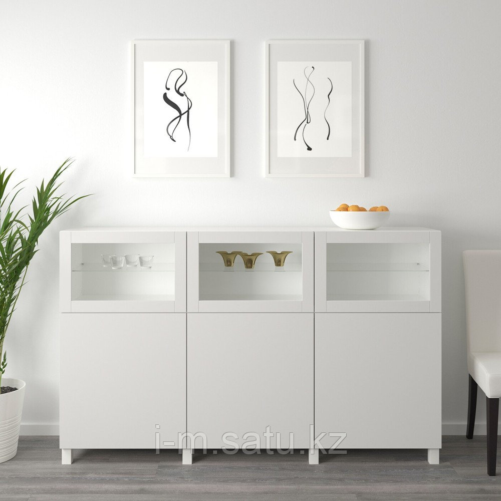 БЕСТО Комбинация для хранения с дверцами, белый Лаппвикен, Синдвик светло-серый  180x42x112 см
