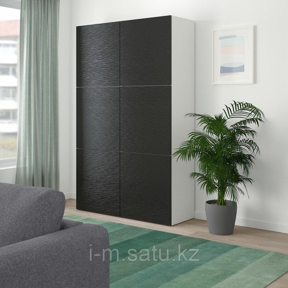 БЕСТО Комбинация для хранения с дверцами, белый, Лаксвикен черный, 120x40x192 см