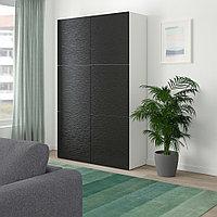 БЕСТО Комбинация для хранения с дверцами, белый, Лаксвикен черный, 120x40x192 см, фото 1