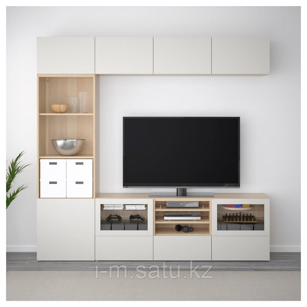 БЕСТО Шкаф для ТВ, комбин/стеклян дверцы, под беленый дуб, Лаппвикен светло-серый 240x40x230 см