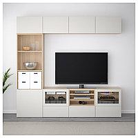 БЕСТО Шкаф для ТВ, комбин/стеклян дверцы, под беленый дуб, Лаппвикен светло-серый 240x40x230 см, фото 1