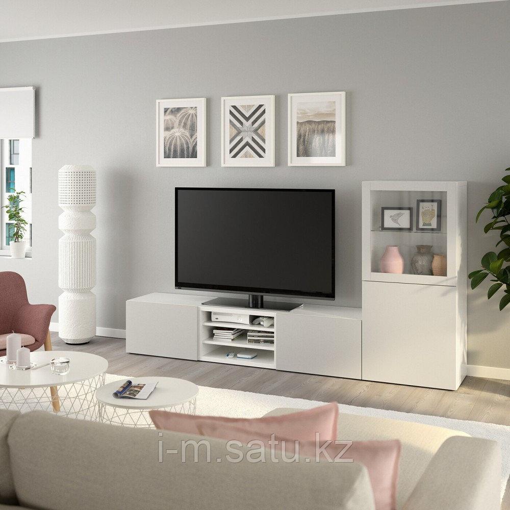 БЕСТО Шкаф для ТВ, комбин/стеклян дверцы, белый, Лаппвикен светло-серый прозрачное стекло, 240x40x128 см