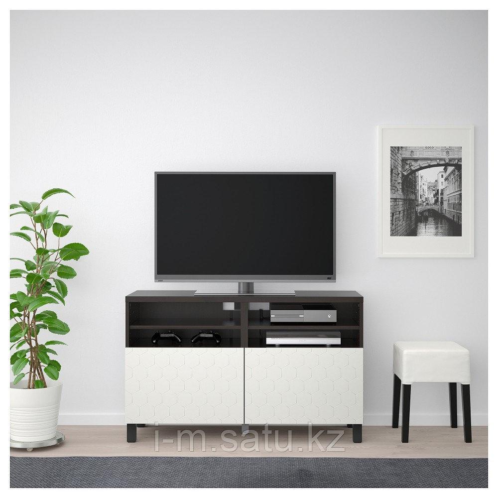 БЕСТО Тумба под ТВ, с дверцами, черно-коричневый, вассвик/стуббарп белый, 120x42x74 см