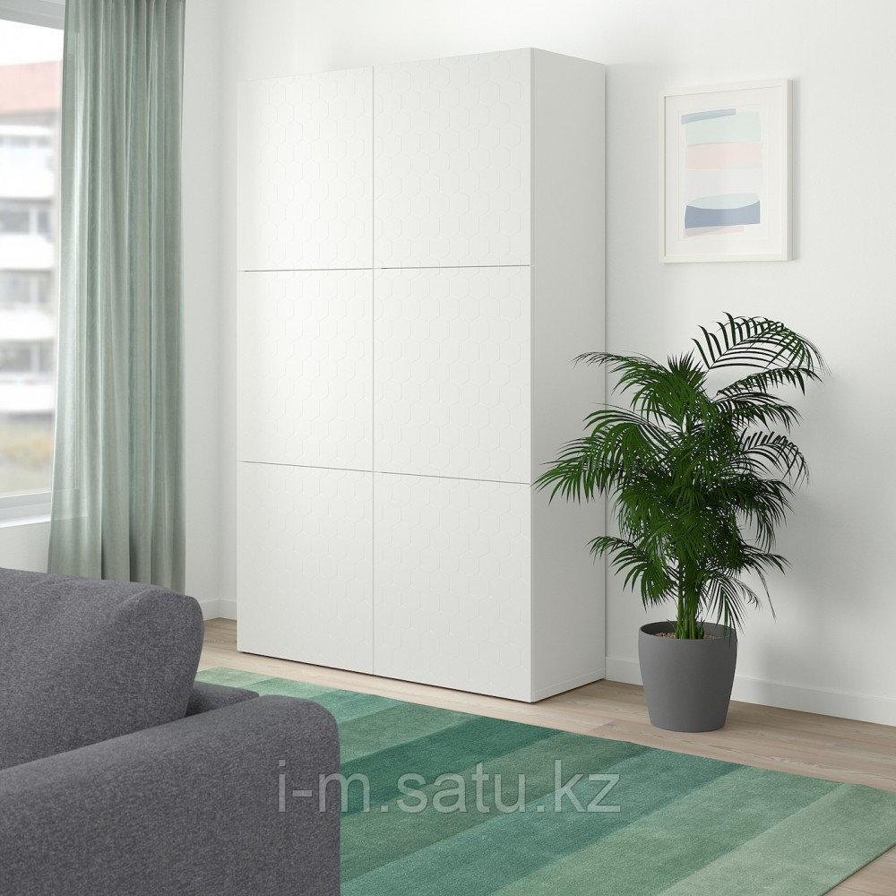 БЕСТО Комбинация для хранения с дверцами, белый, вассвикен белый, 120x40x192 см