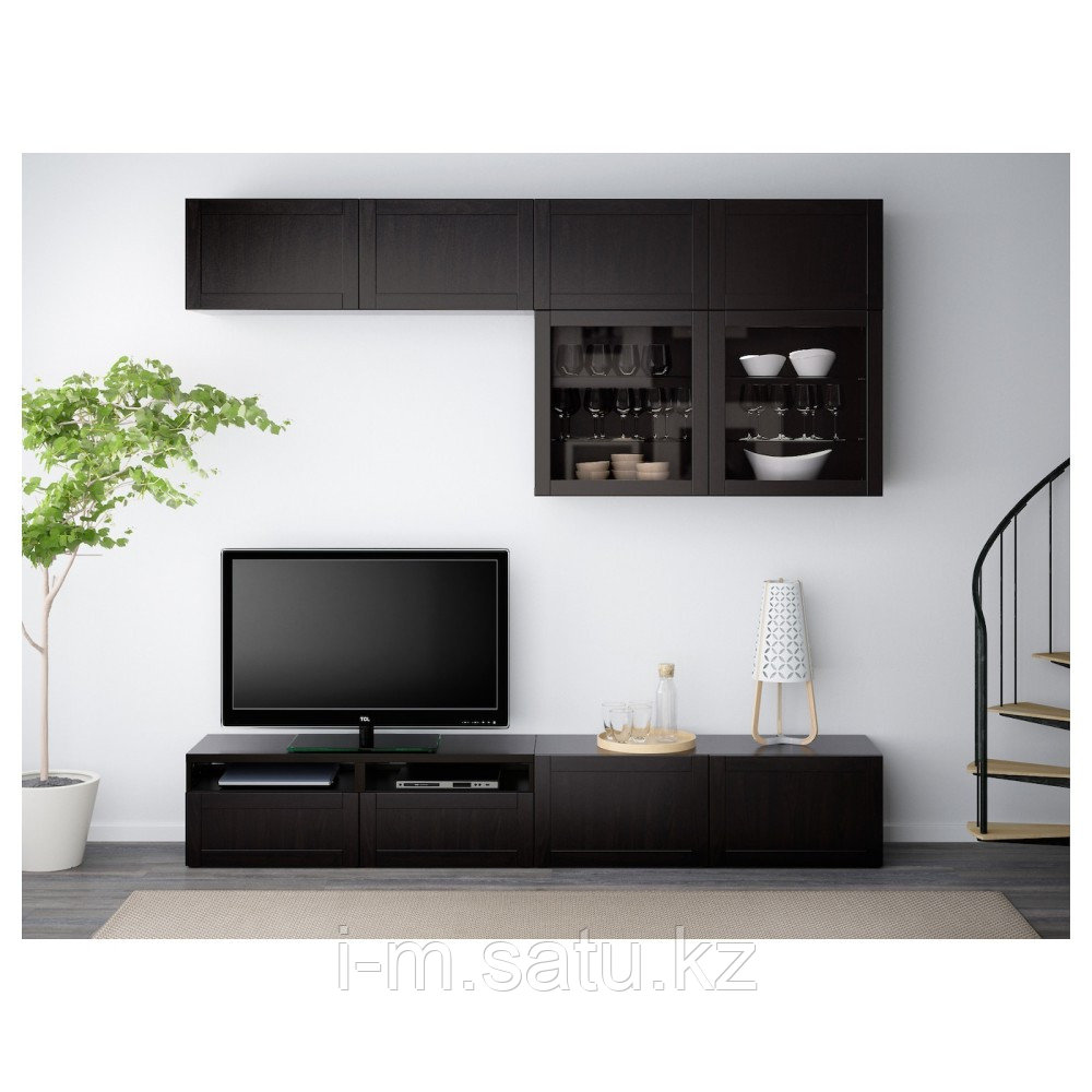 БЕСТО Шкаф для ТВ, комбин/стеклян дверцы, Ханвикен черно-коричневый прозрачное стекло, 240x40x230 см