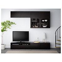 БЕСТО Шкаф для ТВ, комбин/стеклян дверцы, Ханвикен черно-коричневый прозрачное стекло, 240x40x230 см, фото 1