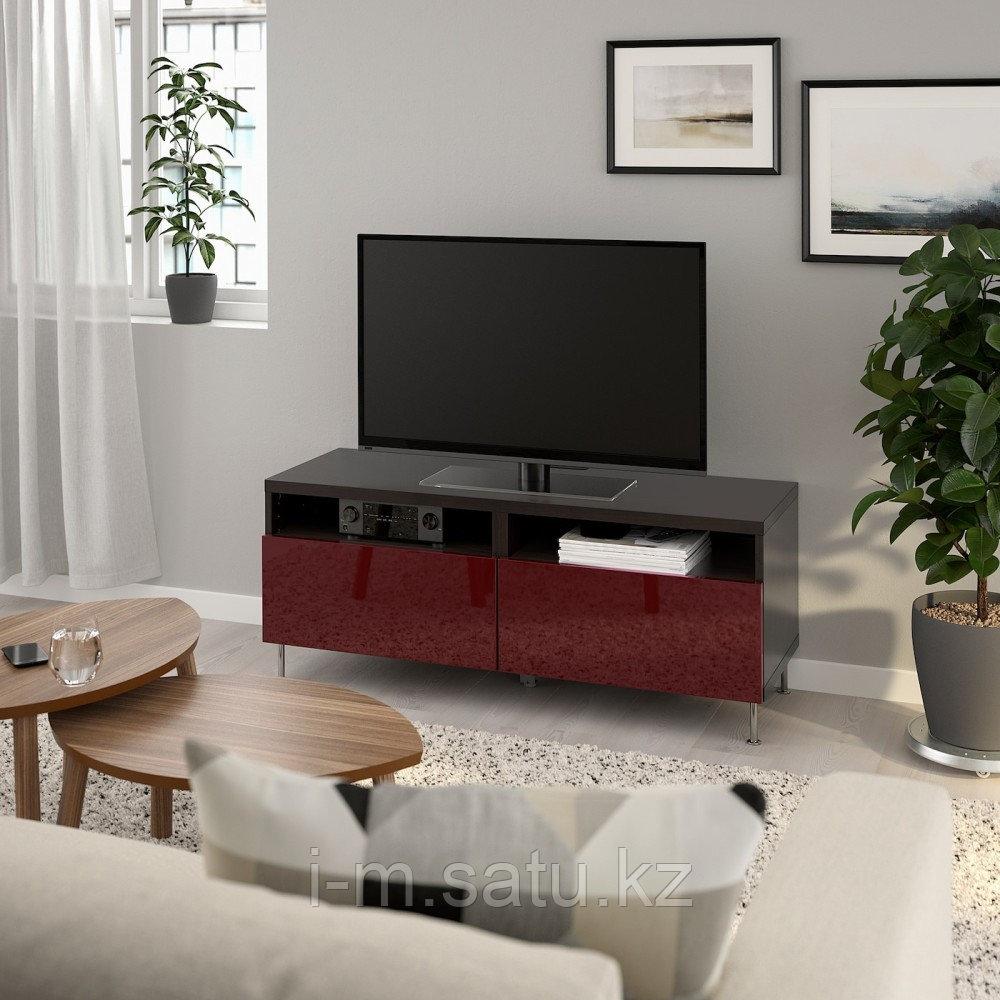 БЕСТО Тумба д/ТВ с ящиками, черно-коричневый СЕЛЬСВ/СТАЛЛАРП, глянцевый темный красно-коричневый, 120x42x48 см