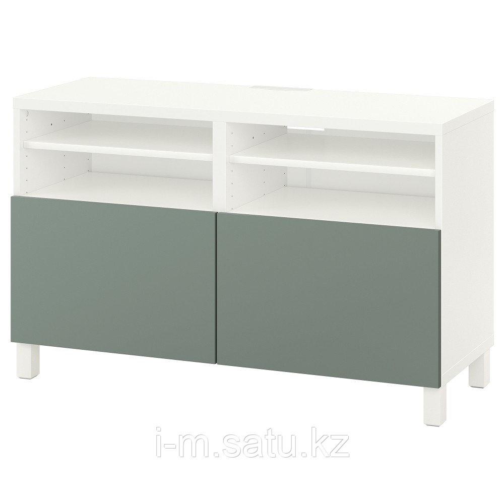 БЕСТО Тумба под ТВ, с дверцами, белый, нотвикен/стуббарп серо-зеленый, 120x42x74 см
