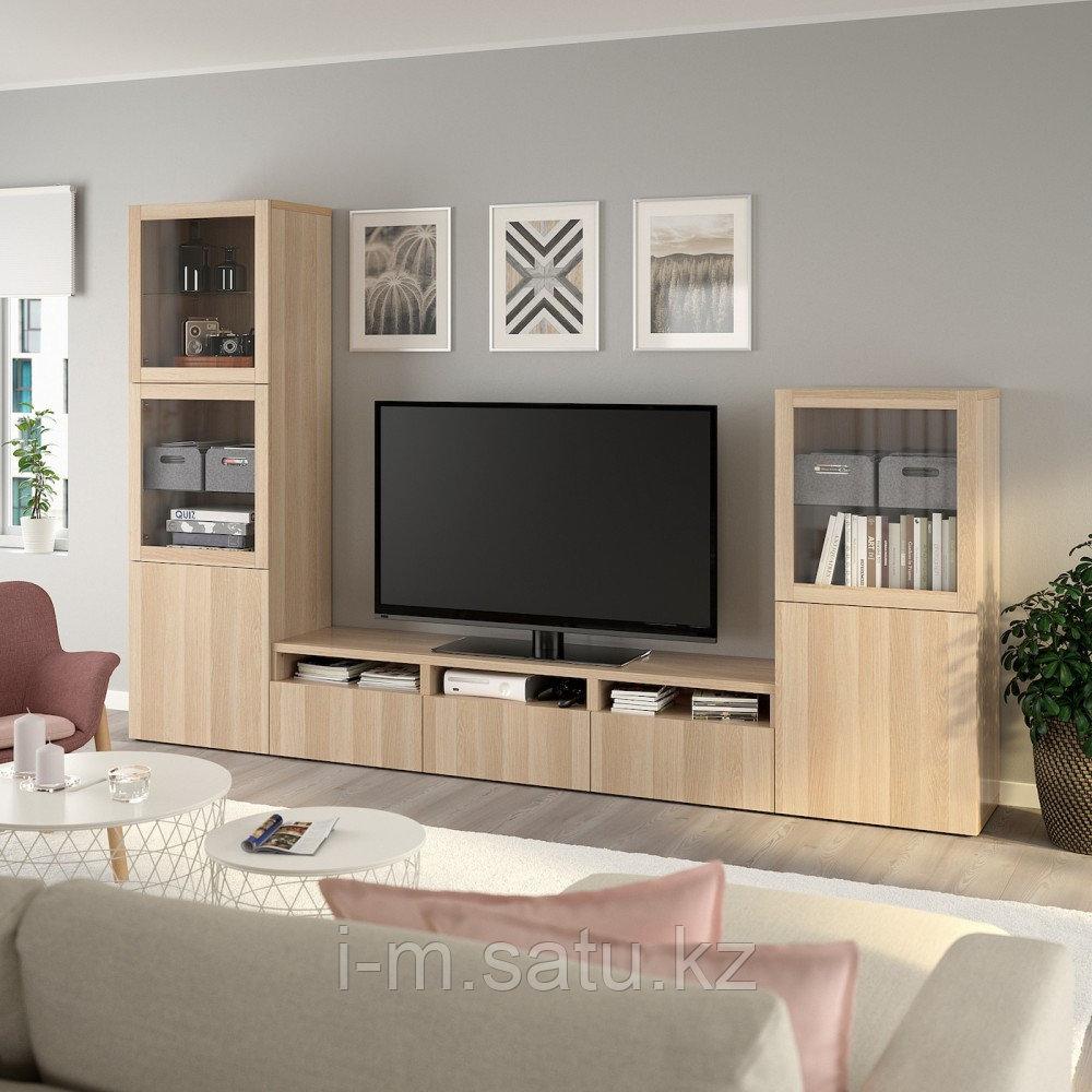 БЕСТО Шкаф для ТВ, комбин/стеклян дверцы, под беленый дуб, Лаппвикен под беленый дуб 300x42x193 см
