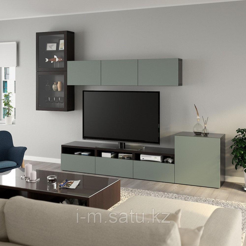 БЕСТО Шкаф для ТВ, комбин/стеклян дверцы, черно-коричневый, Нотвикен серо-зеленый 300x42x211 см