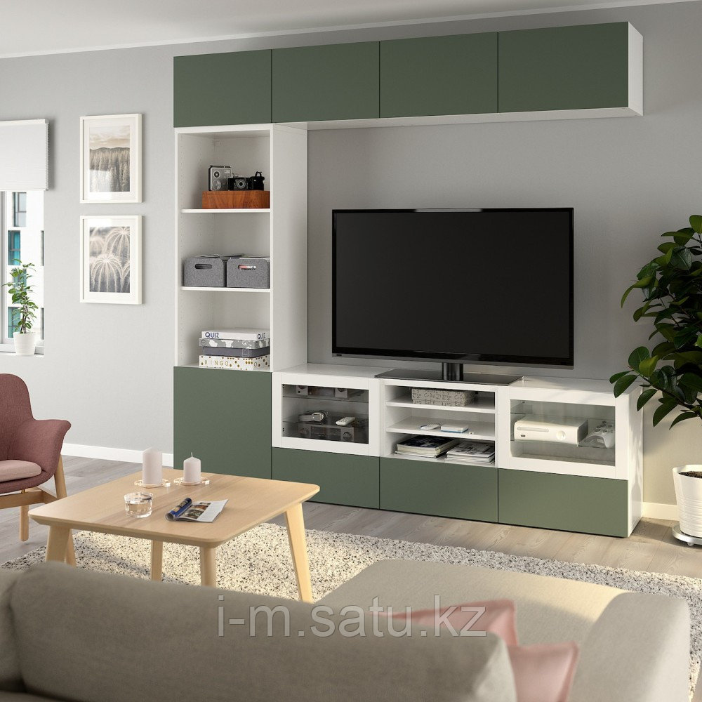 БЕСТО Шкаф для ТВ, комбин/стеклян дверцы, белый, Нотвикен серо-зеленый прозрачное стекло, 240x42x230 см