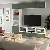 БЕСТО Шкаф для ТВ, комбин/стеклян дверцы, белый, Нотвикен серо-зеленый прозрачное стекло, 240x42x230 см, фото 1