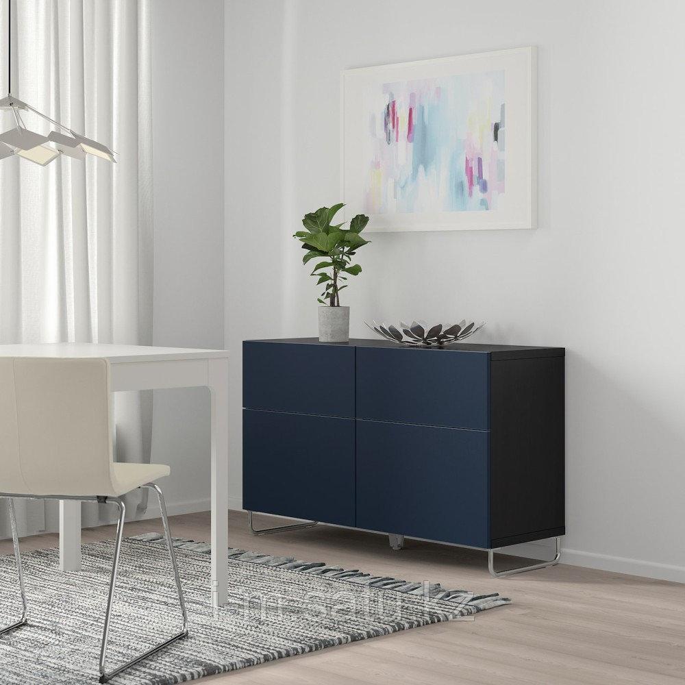 БЕСТО Комб для хран с дверц/ящ, черно-коричневый, нотвикен/суларп синий, 120x42x74 см
