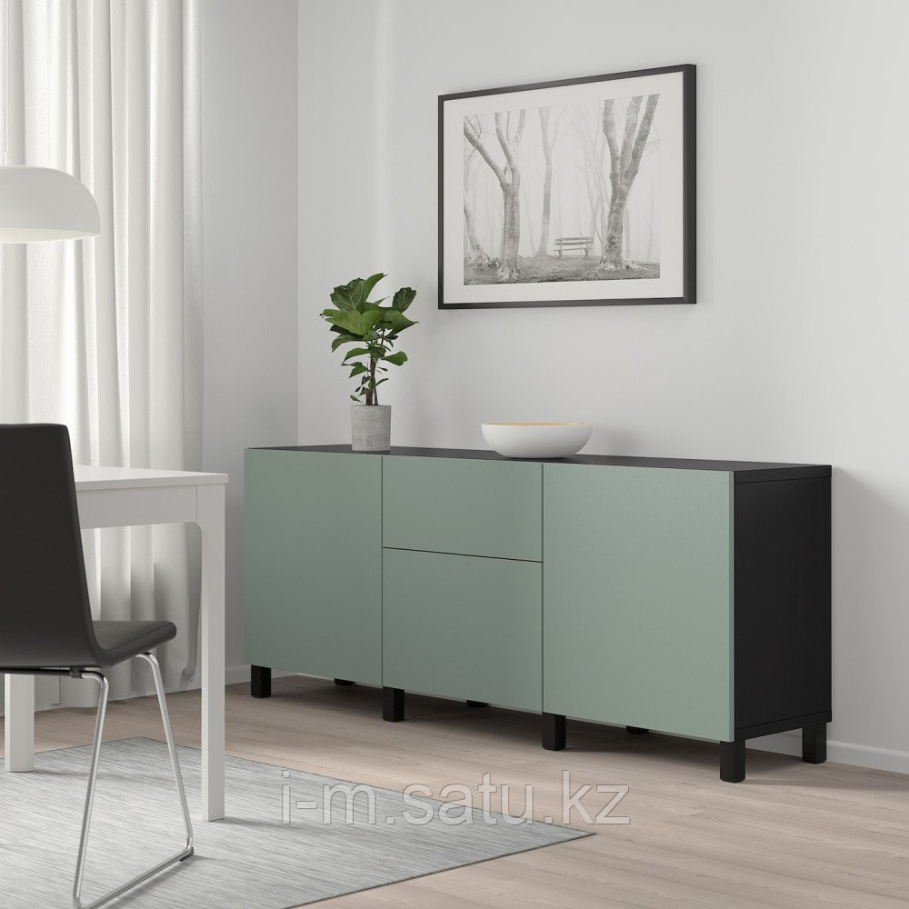БЕСТО Комбинация для хранения с ящиками, черно-коричневый, нотвикен/стуббарп серо-зеленый, 180x42x74 см
