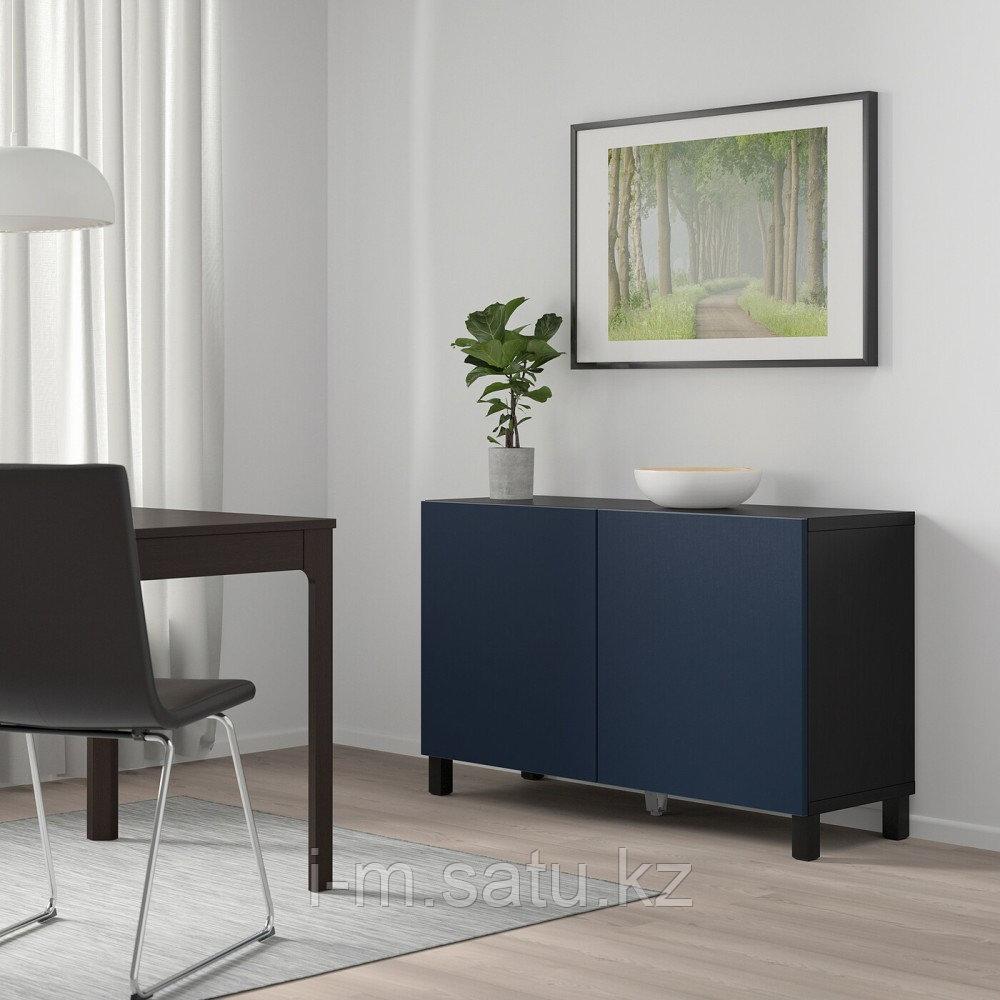 БЕСТО Комбинация для хранения с дверцами, черно-коричневый, нотвикен/стуббарп синий, 120x42x74 см