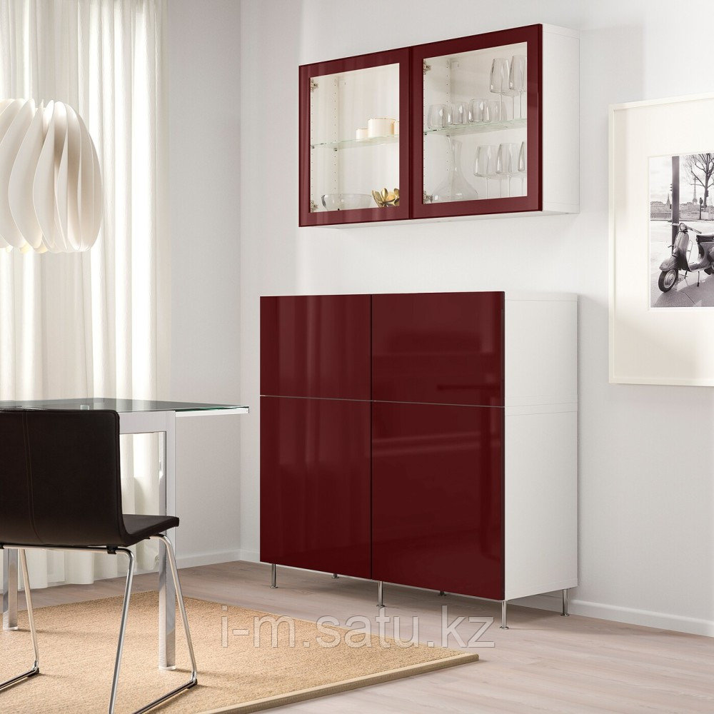 БЕСТО Комб для хран с дверц/ящ, белый СЕЛЬСВ/СТАЛЛАРП, темный красно-коричневый  120x42x240 см