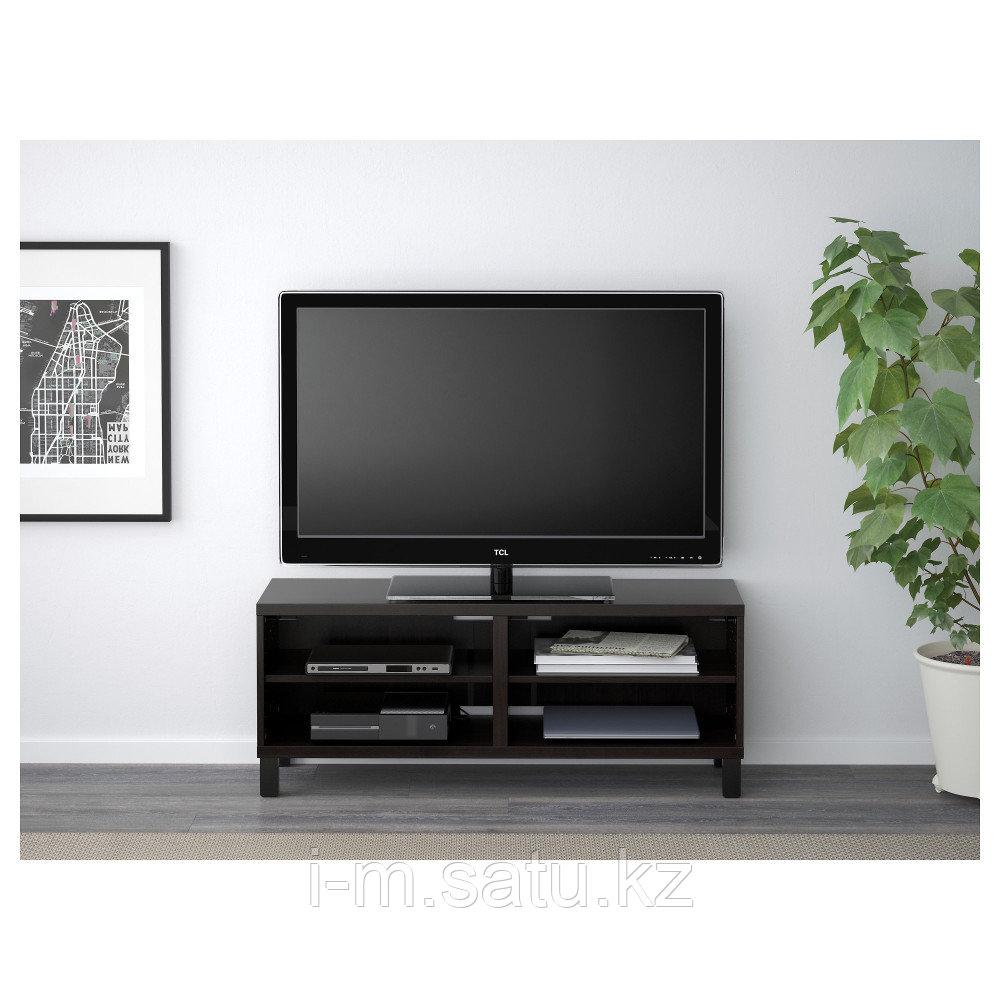 БЕСТО Тумба под ТВ, черно-коричневый, 120x40x48 см