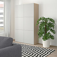 БЕСТО Комбинация для хранения с дверцами, под беленый дуб, Лаппвикен светло-серый, 120x40x192 см, фото 1