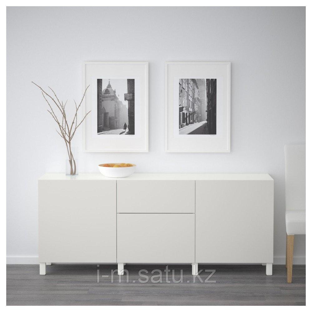 БЕСТО Комбинация для хранения с ящиками, белый, Лаппвикен светло-серый, 180x40x74 см