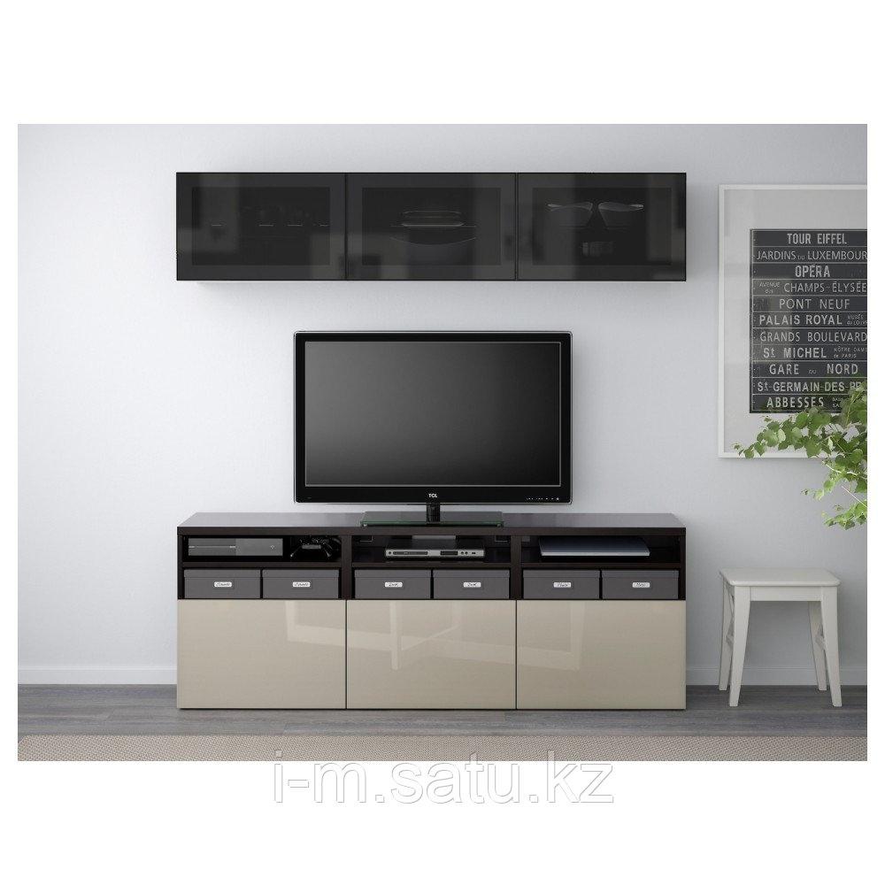 БЕСТО Шкаф для ТВ, комбин/стеклян дверцы, черно-коричневый, Сельсвикен глянцевый/бежевый 180x40x192 см