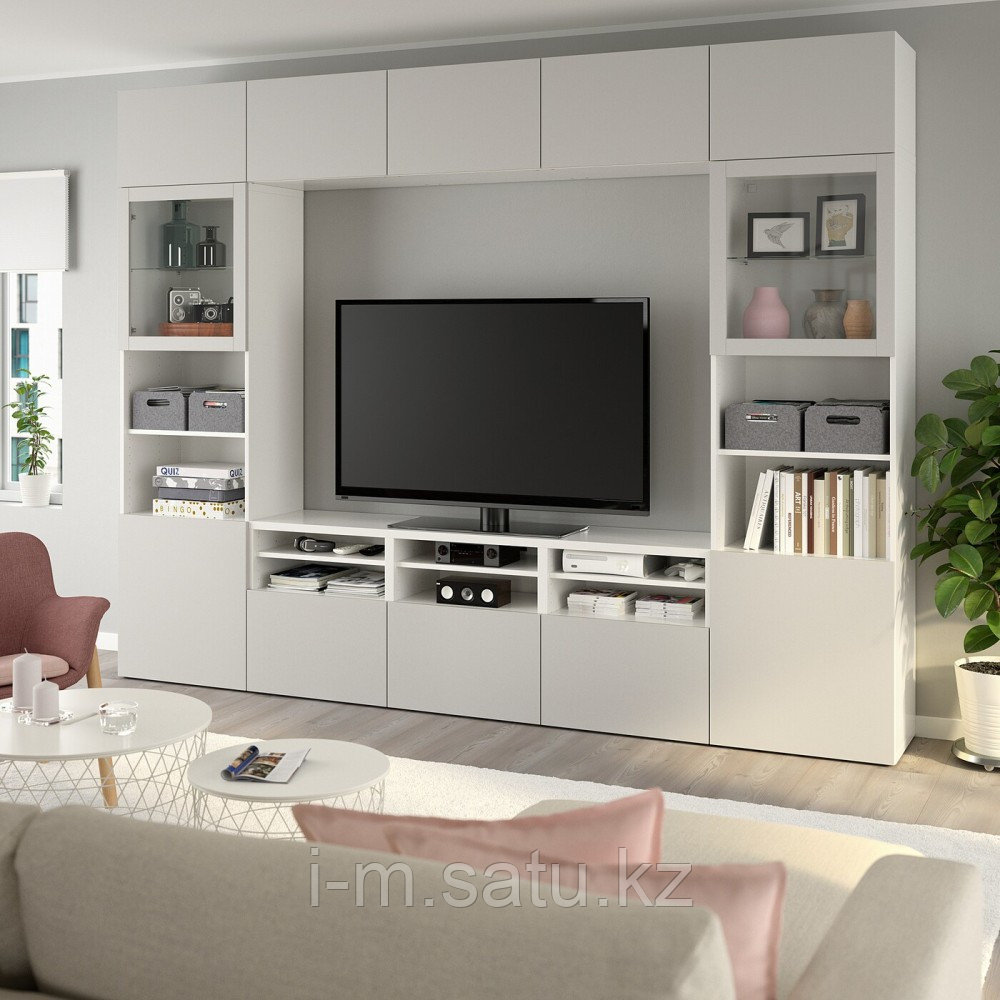 БЕСТО Шкаф для ТВ, комбин/стеклян дверцы, белый, Лаппвикен светло-серый прозрачное стекло, 300x40x230 см