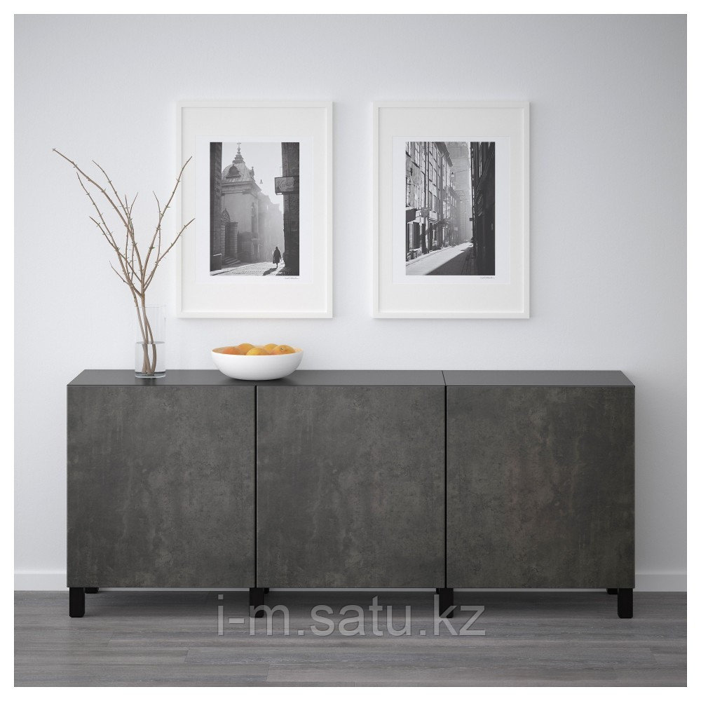 БЕСТО Комбинация для хранения с дверцами, черно-коричневый Кэлльвикен, темно-серый под бетон, 180x40x74 см