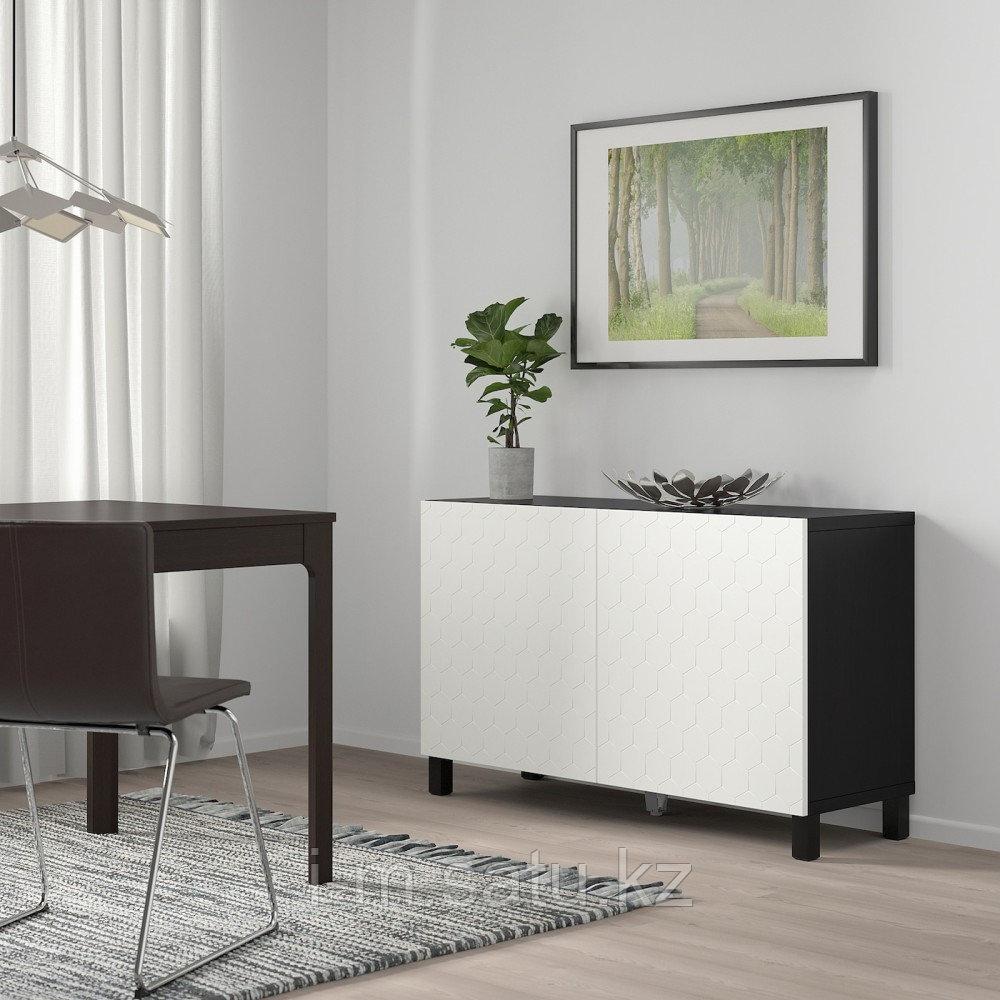 БЕСТО Комбинация для хранения с дверцами, черно-коричневый, вассвик/стуббарп белый, 120x40x74 см
