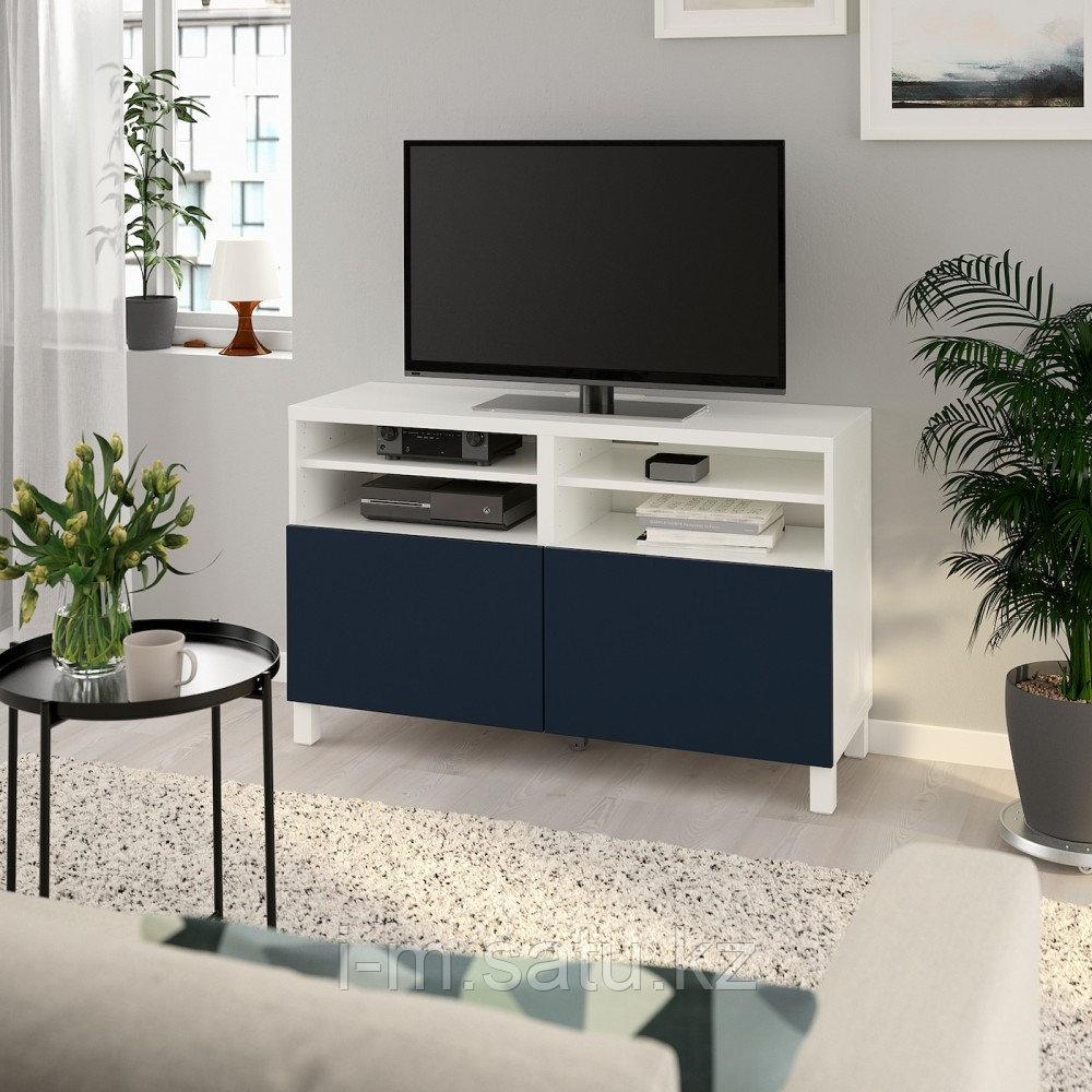 БЕСТО Тумба под ТВ, с дверцами, белый, нотвикен/стуббарп синий, 120x42x74 см