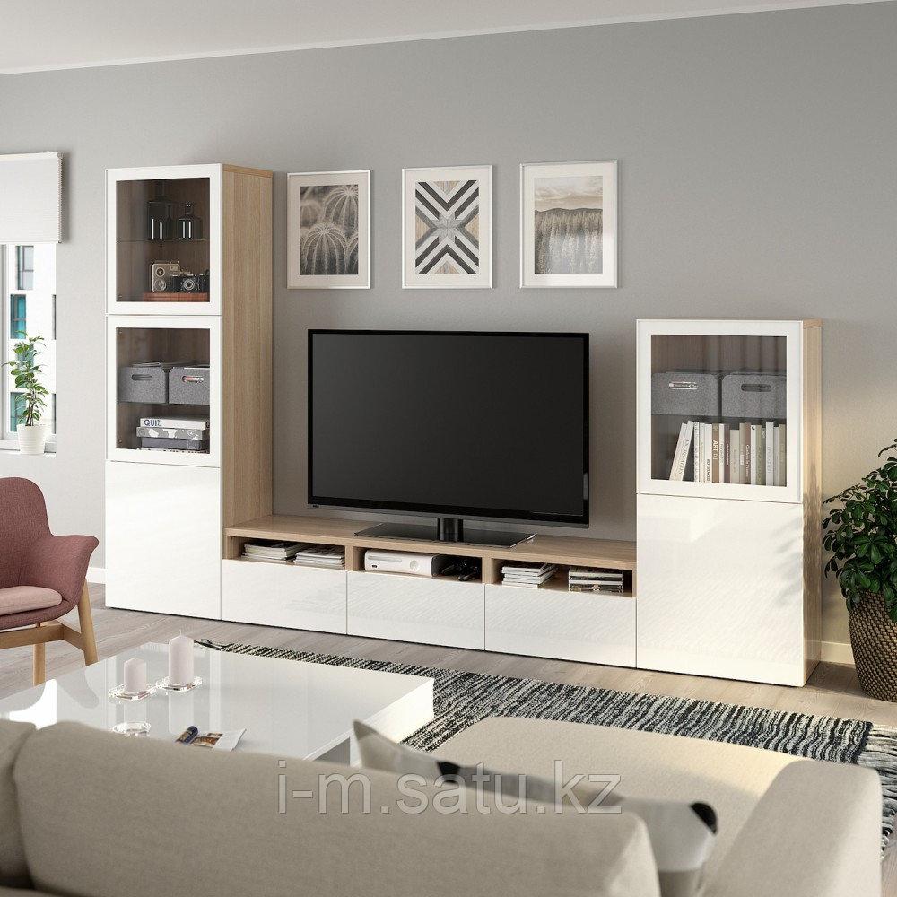 БЕСТО Шкаф для ТВ, комбин/стеклян дверцы, под беленый дуб, Сельсвикен глянцевый/белый 300x42x193 см