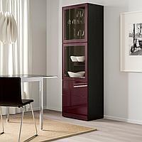 БЕСТО Комбинация д/хранения+стекл дверц, черно-коричневый Сельсвикен, темный красно-коричневый 60x42x193 см