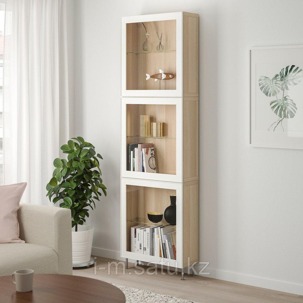 БЕСТО Комбинация д/хранения+стекл дверц, под беленый дуб, глассвик/сталларп белый 60x22x202 см