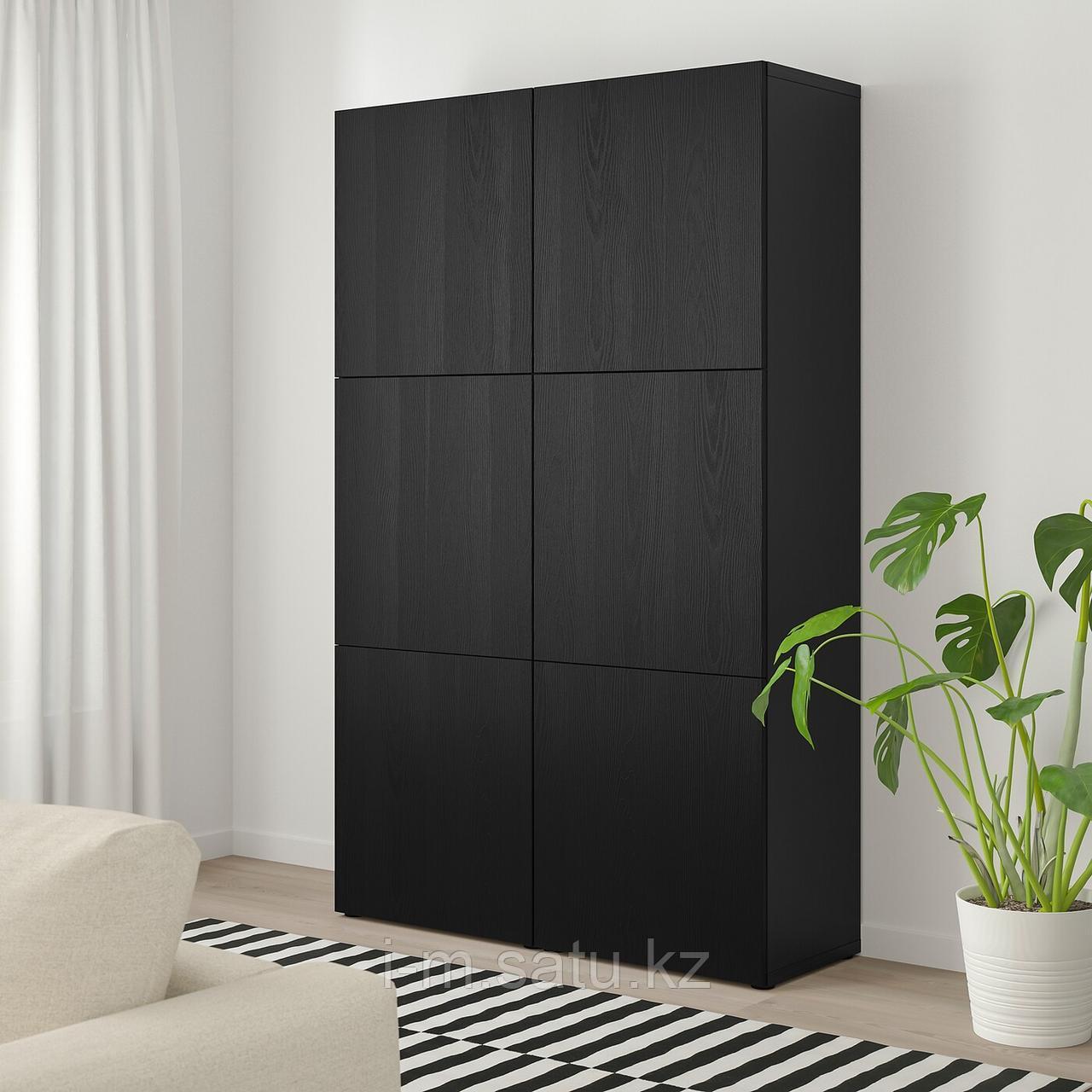 БЕСТО Комбинация для хранения с дверцами, черно-коричневый, тиммервикен черный, 120x42x192 см