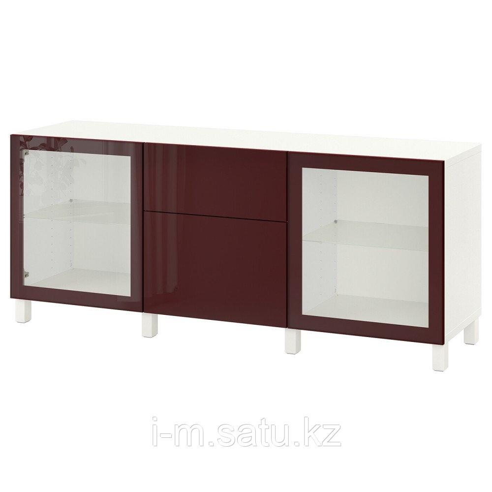 БЕСТО Комбинация для хранения с ящиками, белый сельсв/стуббарп, темный красно-коричневый 180x42x74 см