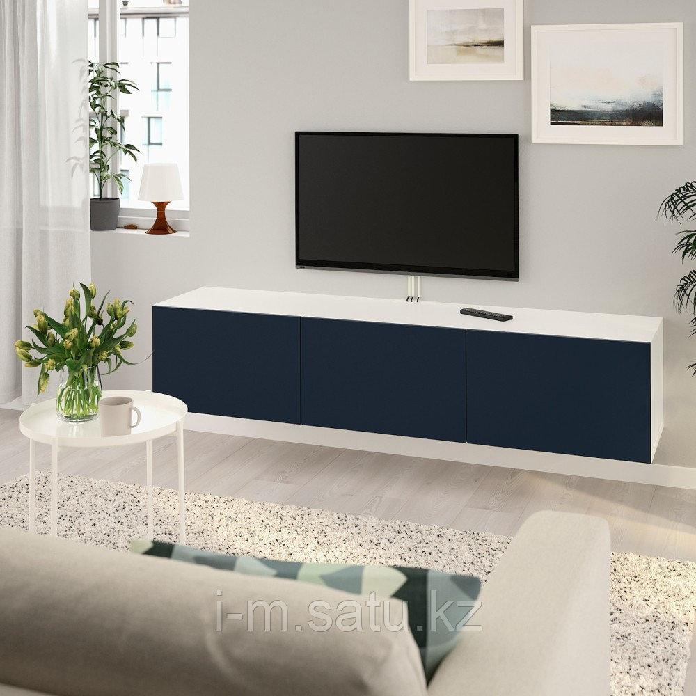 БЕСТО Тумба под ТВ, с дверцами, белый, Нотвикен синий, 180x42x38 см