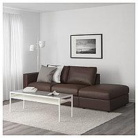 ВИМЛЕ 3-местный диван, с открытым торцом, Фарста темно-коричневый, с открытым торцом/Фарста темно-коричневый, фото 1