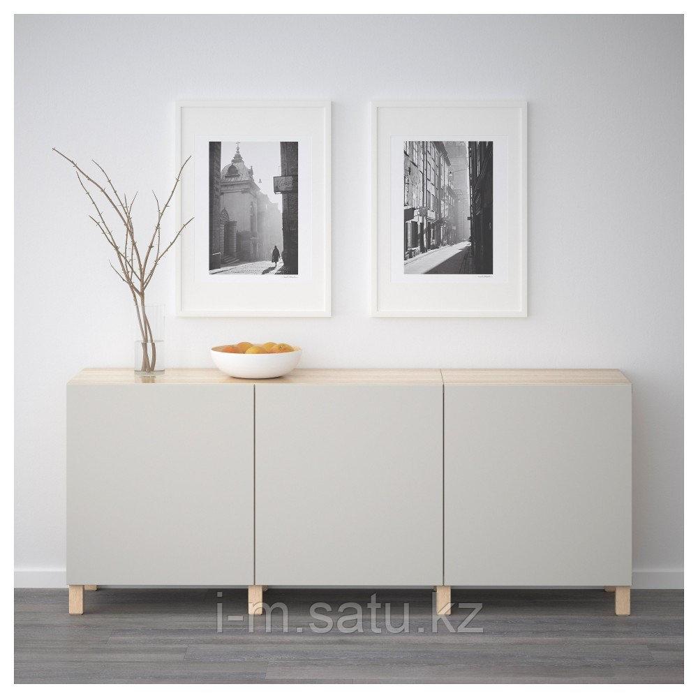 БЕСТО Комбинация для хранения с дверцами, под беленый дуб, Лаппвикен светло-серый, 180x40x74 см