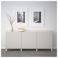 БЕСТО Комбинация для хранения с дверцами, под беленый дуб, Лаппвикен светло-серый, 180x40x74 см, фото 1
