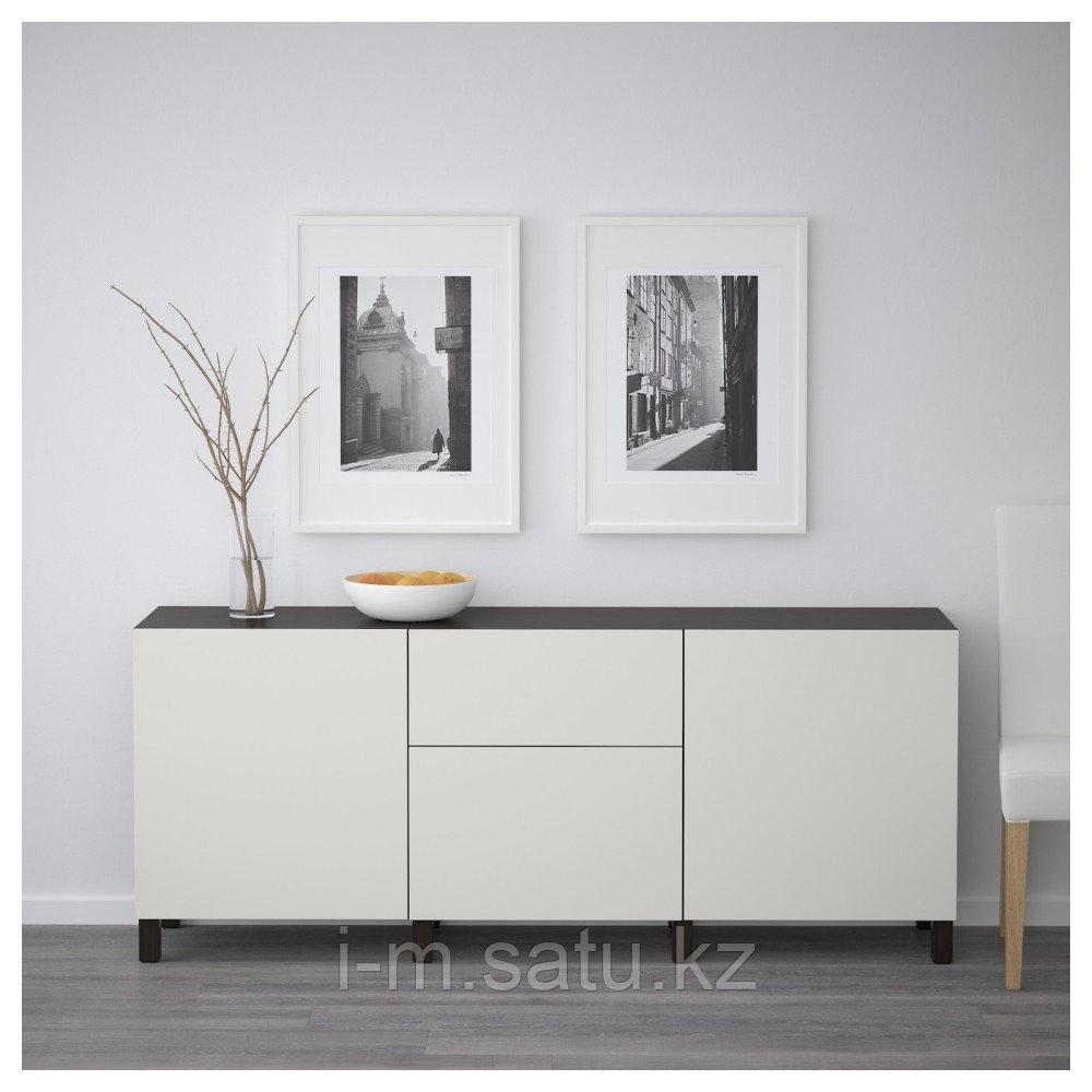 БЕСТО Комбинация для хранения с ящиками, черно-коричневый, Лаппвикен светло-серый, 180x40x74 см