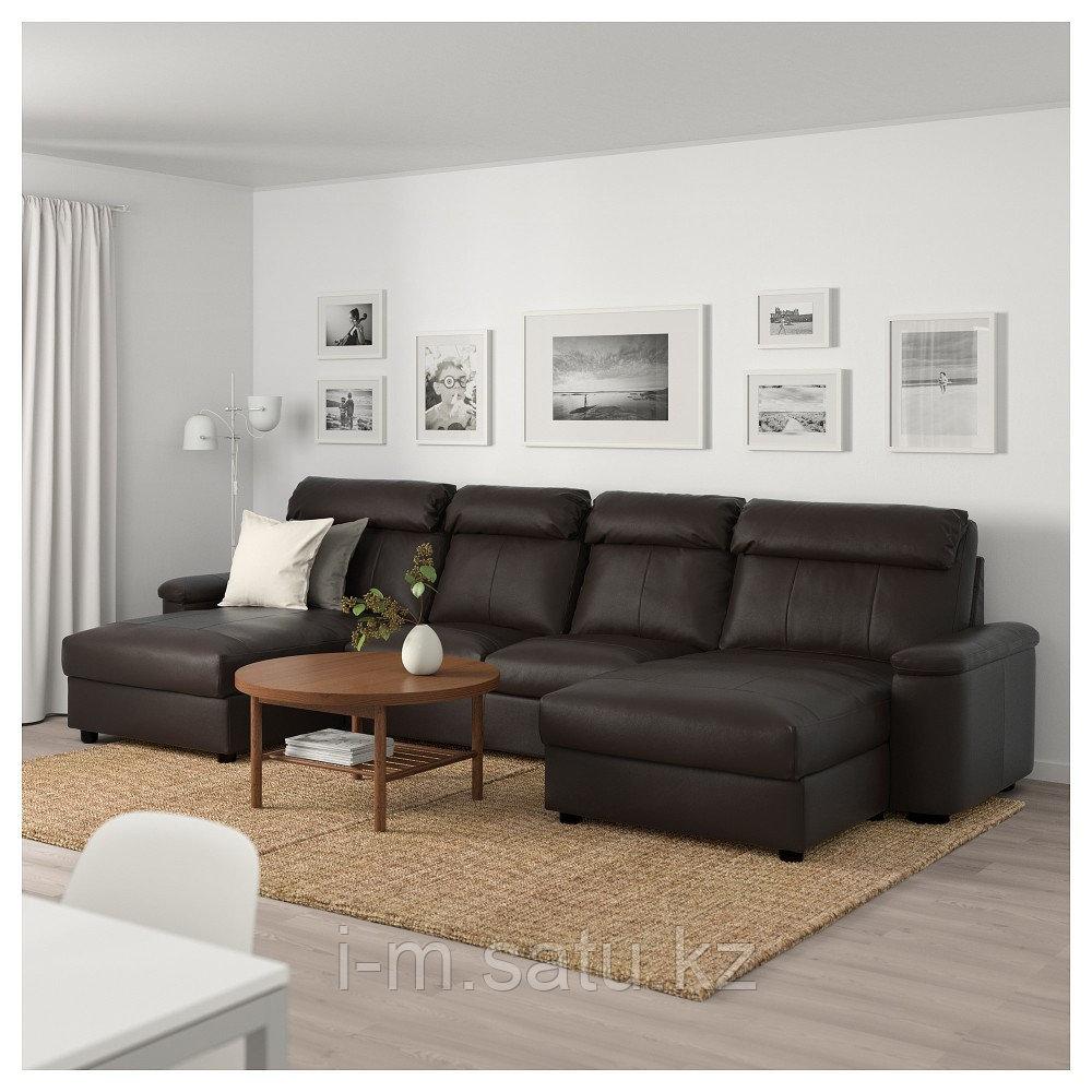 ЛИДГУЛЬТ 4-местный диван, с козеткой, Гранн/Бумстад темно-коричневый, с козеткой/Гранн/Бумстад темно-коричневы