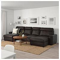 ЛИДГУЛЬТ 4-местный диван, с козеткой, Гранн/Бумстад темно-коричневый, с козеткой/Гранн/Бумстад темно-коричневы, фото 1