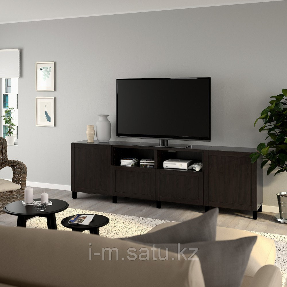 БЕСТО Тумба под ТВ, с дверцами и ящиками, черно-коричневый, ХАНВИКЕН/СТУББАРП черно-коричневый, 240x42x74 см