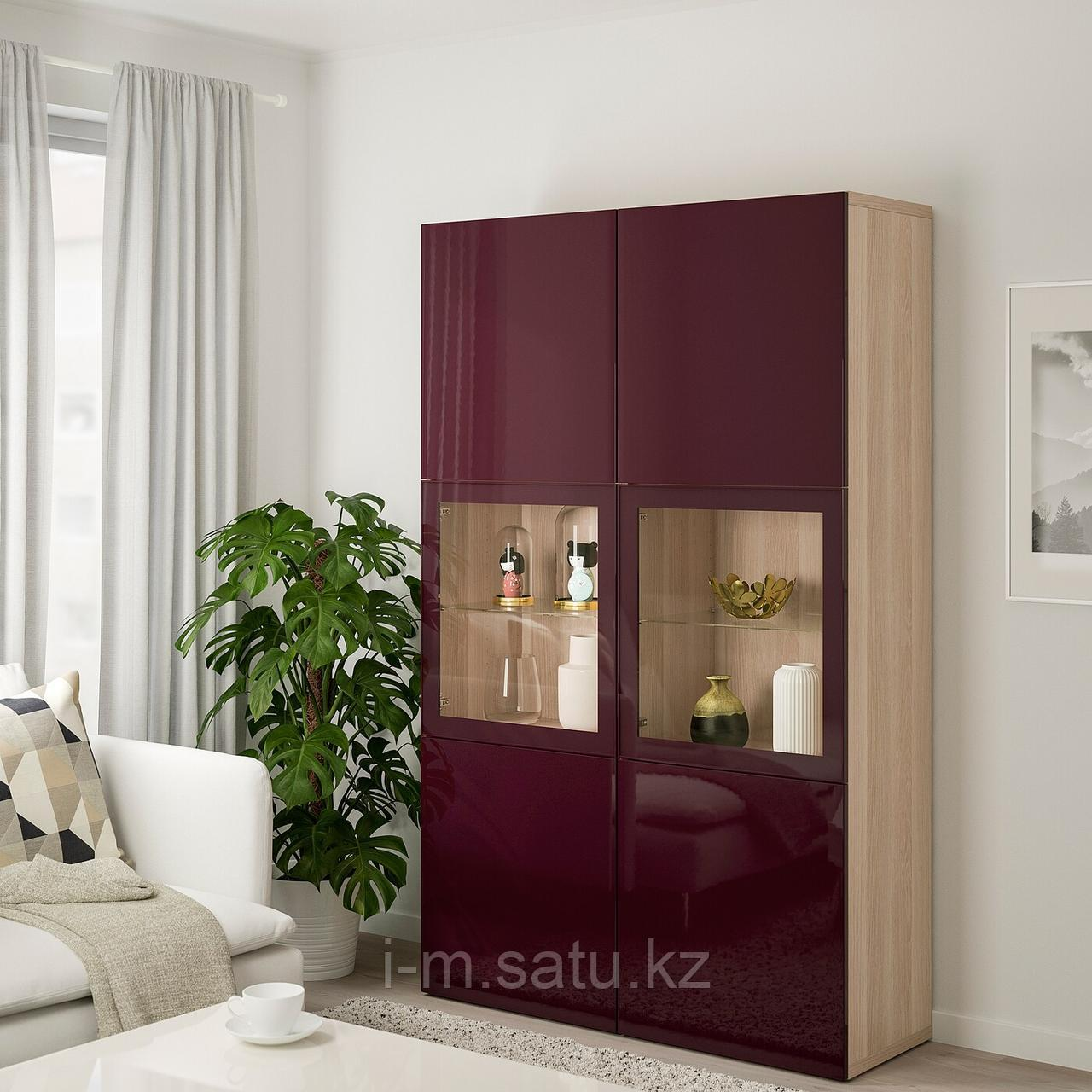 БЕСТО Комбинация д/хранения+стекл дверц, под беленый дуб Сельсвикен, темный красно-коричневый 120x42x192 см