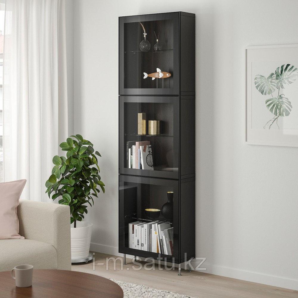 БЕСТО Комбинация д/хранения+стекл дверц, черно-коричневый, глассвик/сталларп черный 60x22x202 см