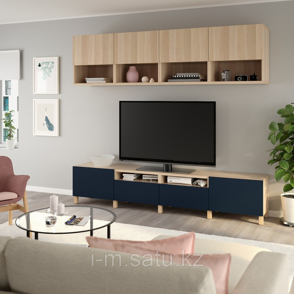 БЕСТО Шкаф для ТВ, комбинация, под беленый дуб Лаппвикен, нотвикен/стуббарп синий, 240x42x230 см