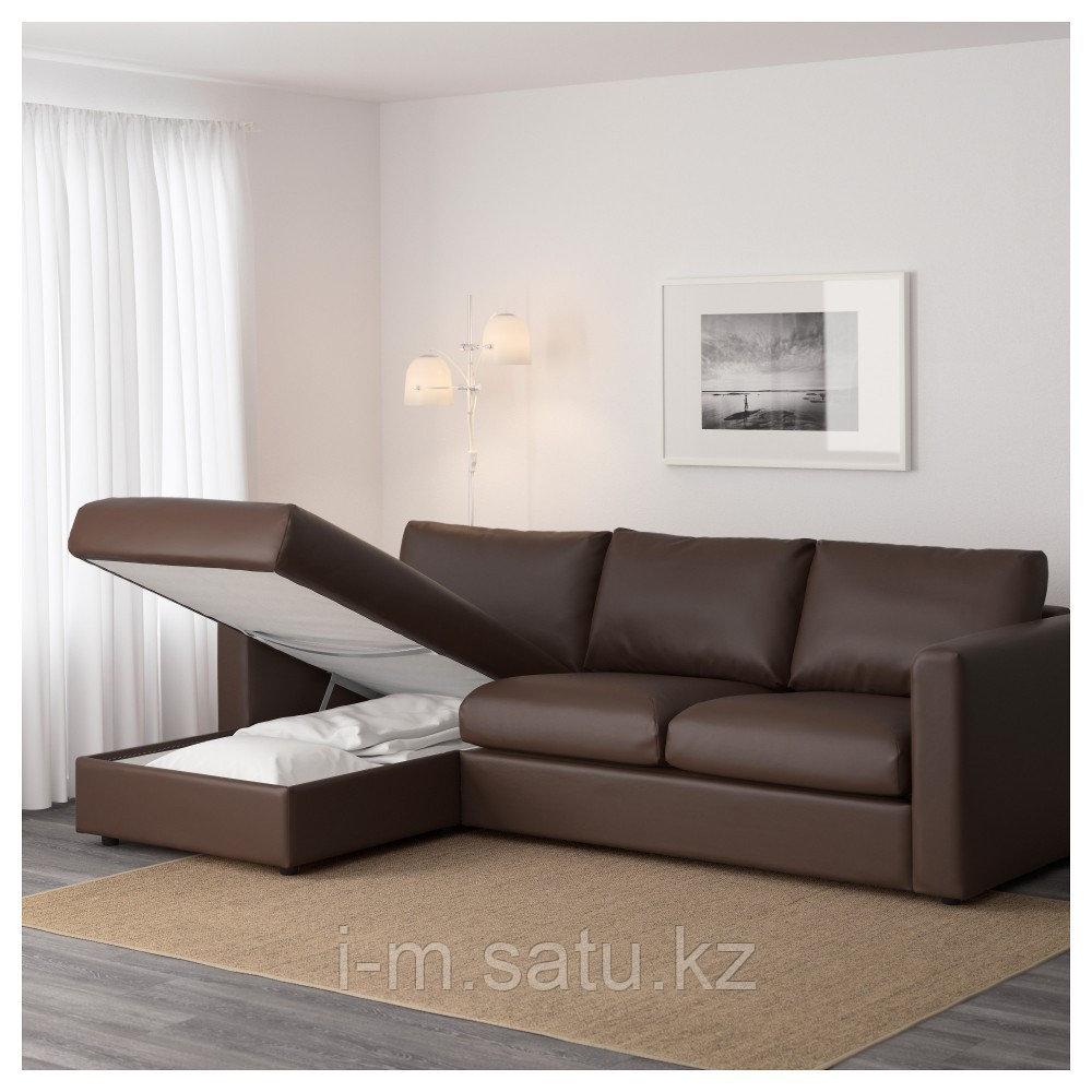 ВИМЛЕ 3-местный диван, с козеткой, Фарста темно-коричневый, с козеткой/Фарста темно-коричневый